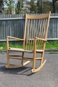 Image of Vintage Hans Wegner J16 beechwood rocking chair for FDB 1965