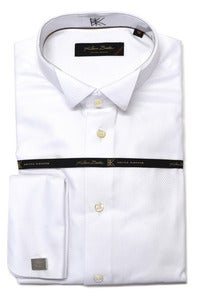 Image of KLAUSS KL782-99 WHITE TUXEDO SHIRT WITH FRENCH CUFFS