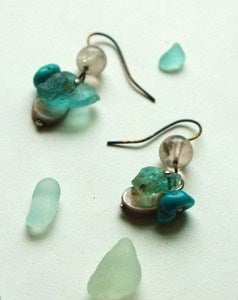 Image of Bonfire Aquamarine &amp; Turquoise Sea Glass Earrings
