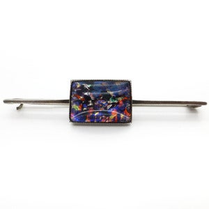 Image of Vintage Art Deco English Sterling Silver Rainbow Foil Glass Pin Brooch