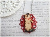 Image of Pussy Cat with Red Ribbon in Red Frame Necklace