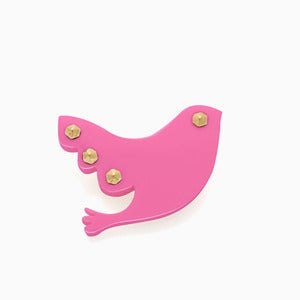 Image of Feather Brooch | Neon Fuchsia + Golden | 40% OFF!