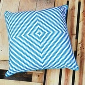 Image of Blue ZigZag Cushion Cover