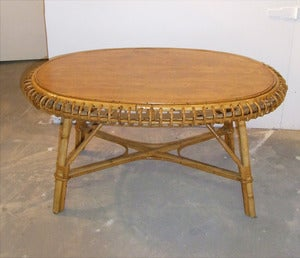 Image of TABLE BASSE OVALE EN ROTIN VINTAGE ANNES 60 - REF.1206