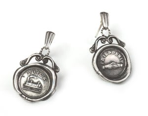 Image of Polished Silver/Oxidised 19th c. Mini Wax Seal Earrings NEW