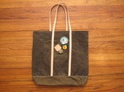 Image of olive waxed canvas tote