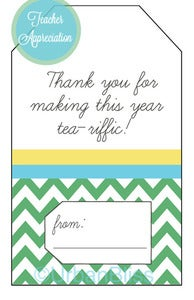 Image of Teacher Printable Tea Gift Tags