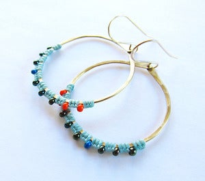 Image of Gold & Silver Full Moon Rising Earrings in Spring Colors!!