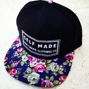 Image of Black and Navy Blue Floral Self Made Snapback