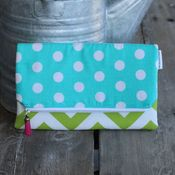 Image of foldover clutch - green chevron