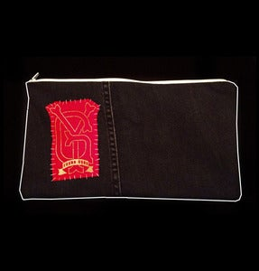 Image of SICK X YOUNG GUNS Pencil case 'FANCY WALLPAPER' GOLD/RED LOGO