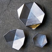 Image of set of 3 aluminum origami bowls