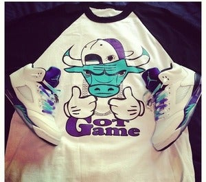 Image of Perdiem Clothing Jordan 5 grape Baseball Tee 3/4 Sleeve