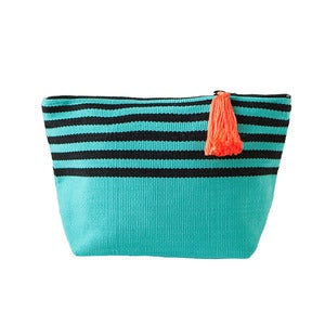Image of Medium Tassel Bag Turquoise/Black