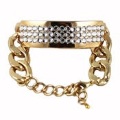 Image of Gold Chain Swarovski Crystal Tag Bracelet