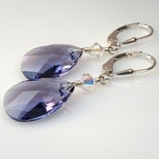 Image of Swarovski Crystal Tanzanite Pear Drop Earrings