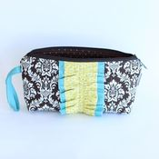 Image of wristlet clutch - chocolate damask