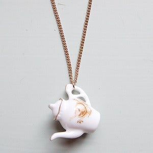 Image of Floral Vintage Style Teapot Necklace by And Mary