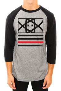 Image of Eyes & Stripes Raglan Grey/Blk/Red