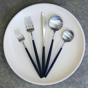 Image of 5 piece Goa brushed steel cutlery set