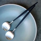 Image of set of 2 Goa brushed steel salad servers