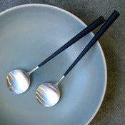 Image of set of 2 Noor brushed steel salad servers