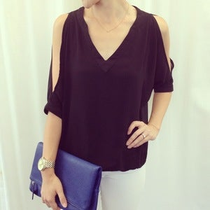 Image of Cold-shoulder top: black