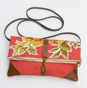 Image of S O L D - foldover bag in tomato red with vintage floral appliques (a)