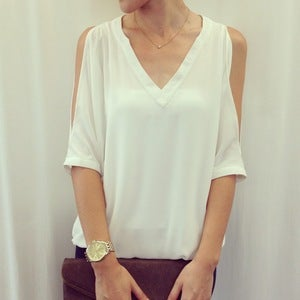 Image of Cold-shoulder top: white