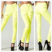 Image of Neon High Waist Destroyed Jeans