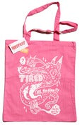 "Image of ""Tired All the Time"" tote bag in pink"