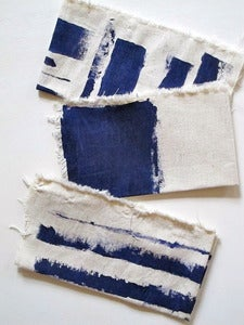 Image of hand painted navy blue napkins