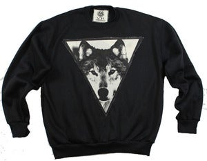 Image of UNISEX BLACK WOLF CREWNECK 