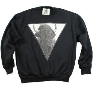 Image of UNISEX BLACK BUFFALO CREWNECK