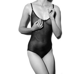 Image of Black Mesh 'Lara' Sheer Bodysuit