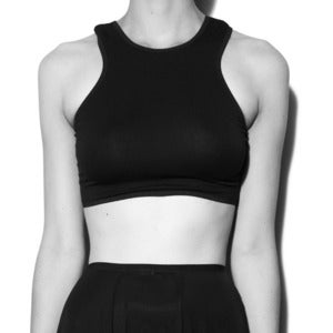 Image of Black Bamboo Jersey 'Saga' Cropped Top