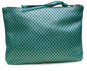 Image of Hand Made Fishnet Printed Green Leather Purse