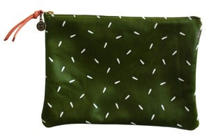 Image of Clutch- Emerald Green Leather with White Seeds