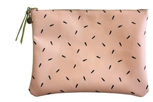 Image of Clutch- Light Pink Leather with Black Seeds