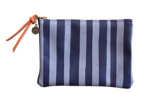 Image of Wallet Pouch- Purple Leather with Lavender Stripes