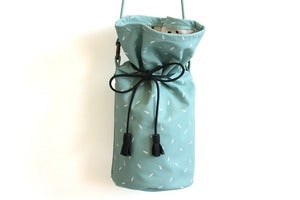 Image of Bucket Bag- Baby Blue Leather with White Seeds