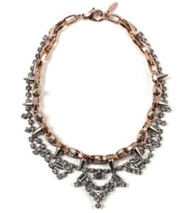 Image of Metal-Luxe Crystal & Spike Necklace - Crystal/Rose Gold/Silver Spikes