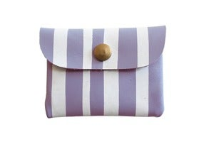 Image of Card Holder- Lavender Leather with White Stripes