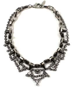 Image of Metal-Luxe Crystal & Spike Necklace - Rhodium/Hematite Spikes