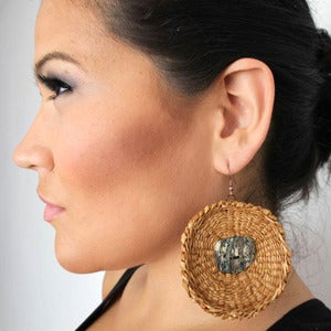 Image of Circular Cedar Earrings with Abalone
