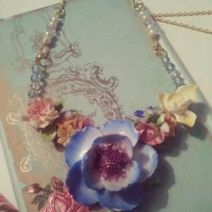 Image of Rainbow china flowers statement necklace