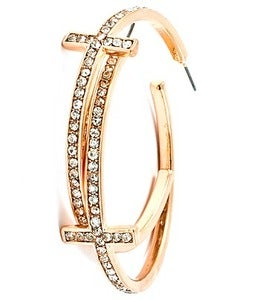 Image of CROSS HOOP EARRINGS