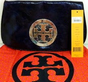 Image of Tory Burch Navy Crackled Leather Logo Metallic Clutch