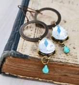 Image of Antiqued Brass Circles with Glass Teardrop and Sea Foam Blue Teardrop - Sea Foam Chandelier Earrings