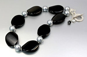 Image of Black Agate and Shell Pearl Necklace